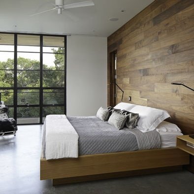 Bedroom gray and wood design