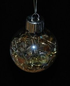 For all of those tiny bulbs leftover from Ethan's bday party! Steampunk Christmas Ornament