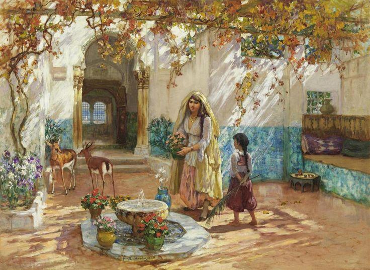 missfolly: A Moorish Courtyard by Frederick Arthur Bridgman, ca. 1885