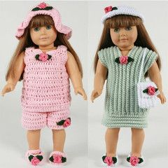 """18"""" Doll Summer Outings Outfits Crochet Pattern"""