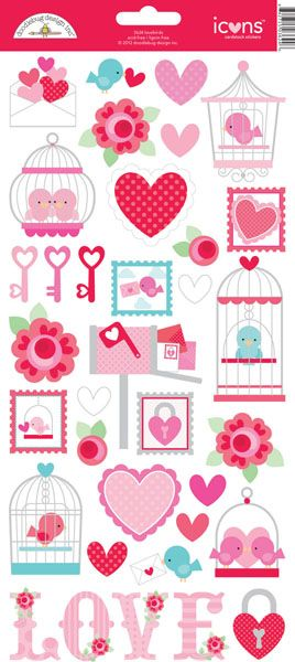 Doodlebug Lovebird Collection Sticker