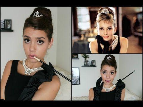 Audrey Hepburn | Breakfast At Tiffany's Halloween Tutorial! (Hair, Makeup & Costume) - YouTube