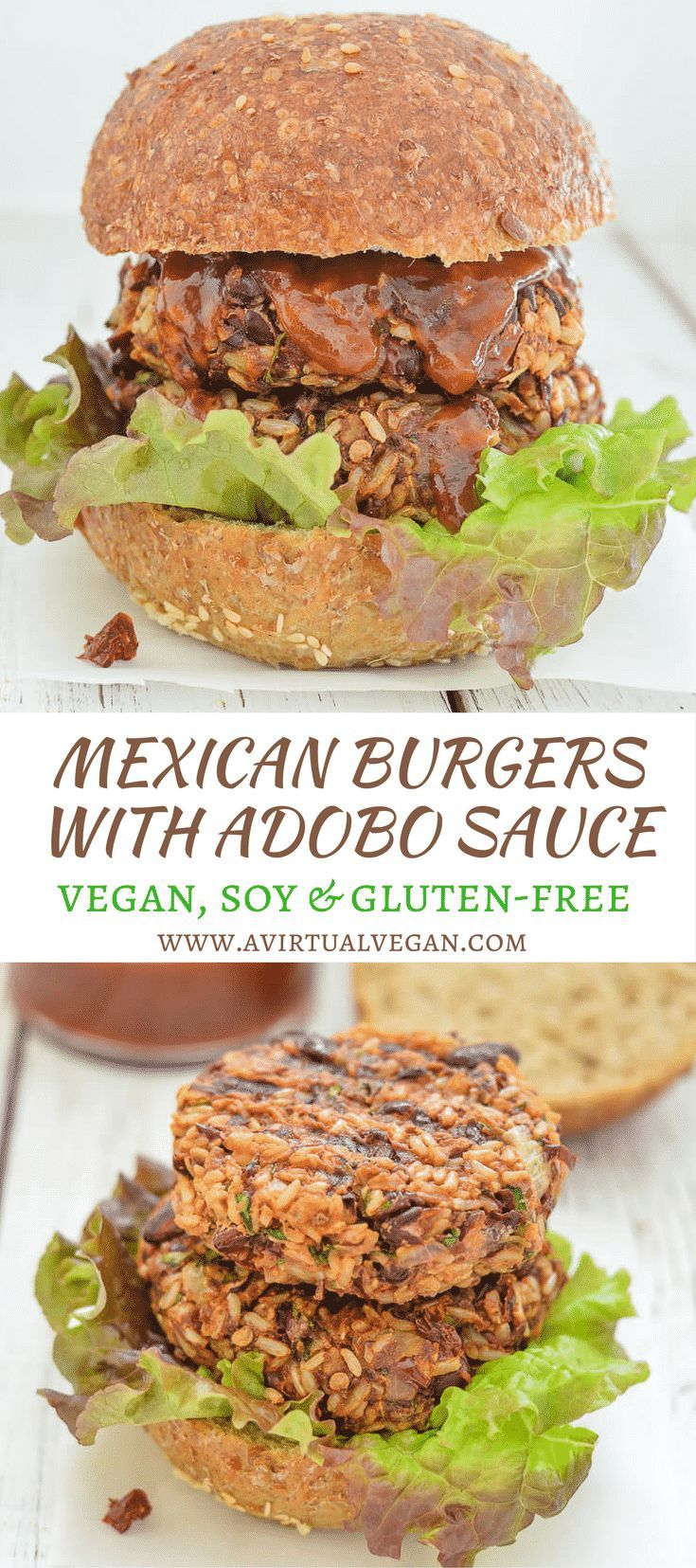 Where do I even begin with these lip smackingly good Mexican Burgers? They are so incredibly delicious & the sticky, sweet, spicy sauce just takes them OVER the top!  via @avirtualvegan #ad #RiceSelect #texmatibrown