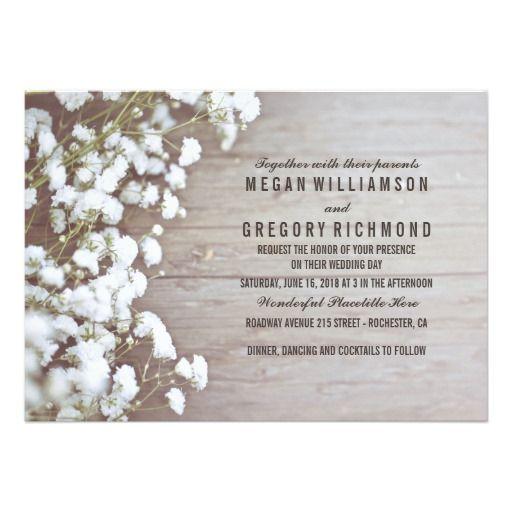 Baby's Breath Rustic Wedding 13 Cm X 18 Cm Invitation Card