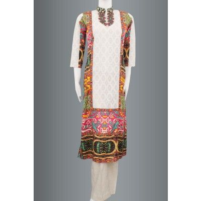 White Silk with multicolored net kurti