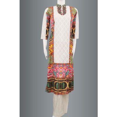 White Silk with multicolored net kurti