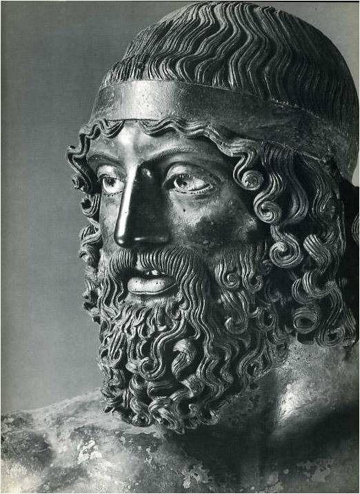 Detail of Riace Warrior A, ca. 460-450 BC, National Museum, Reggio Calabria