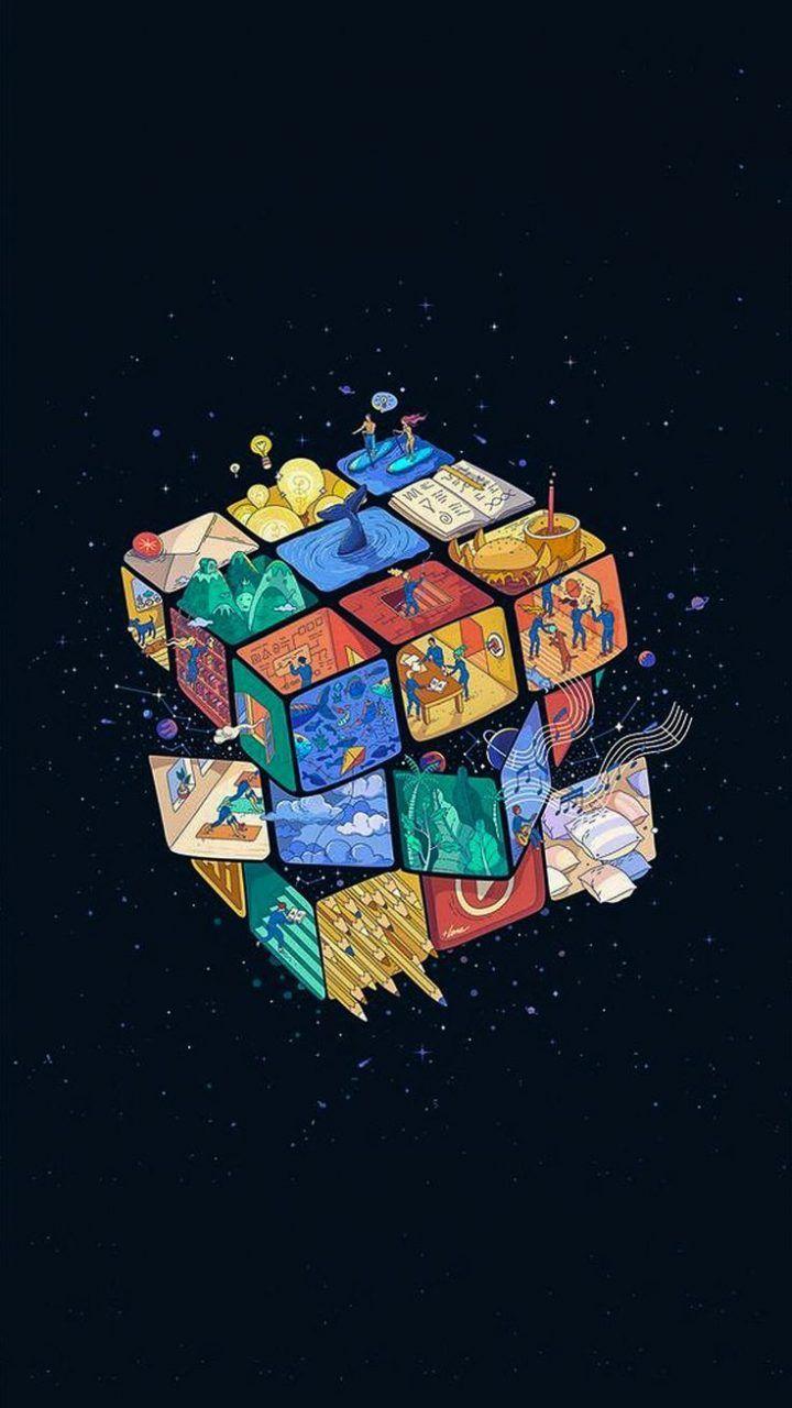 Rubiks Cube Universum Wallpaper Wallpaper Minimalis Wallpaper Seni Wallpaper Iphone