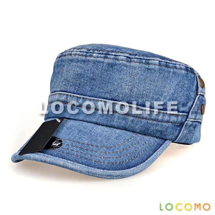 Blue Washed Jeans Denim Army Military Flat Cap Blue