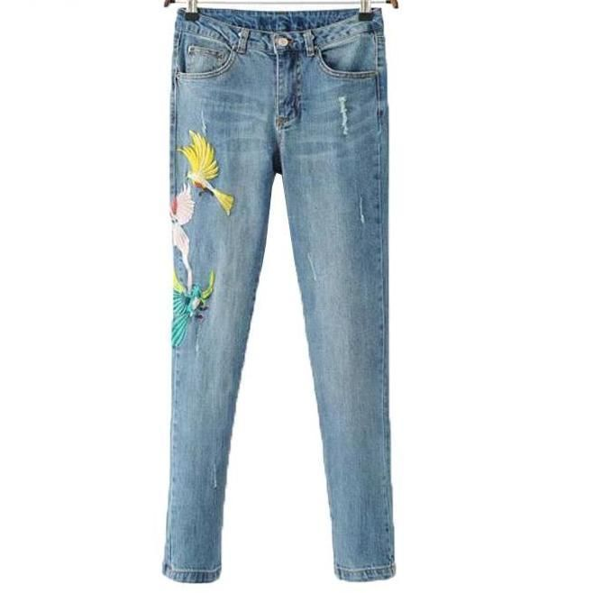 Fashion Women Blue Trousers High Waist Ripped Pants Pockets Jeans Bird Embroidery Straight