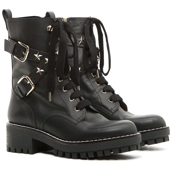 REDValentino Combat Boot With Stars ($710) ❤ liked on Polyvore featuring shoes, boots, black, black leather shoes, black studded boots, leather military boots, buckle boots and black buckle boots