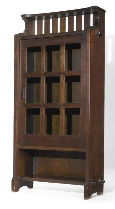 Gustav Stickley (1858-1942) - Book Cabinet. Oak & Glass. Circa 1900.