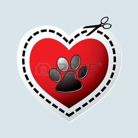 Rojo corazón el amor con huella de la pata los perros y la línea de puntos. Foto de archivo - 11995919