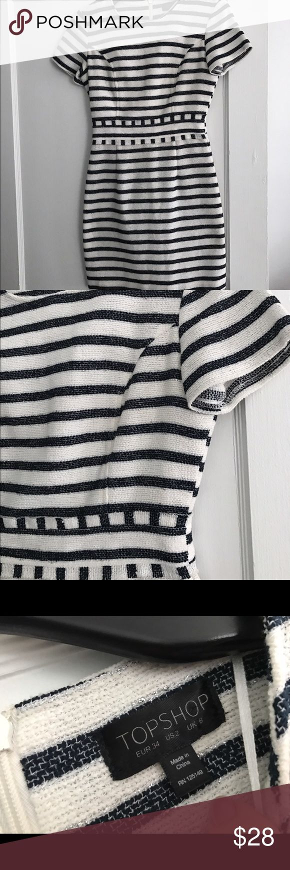 One day sale Topshop dress size 2 GUC navy & white Pet and smoke free home. Bundle discount 20% leaving today June 28th snag by noon for this great price Topshop Dresses