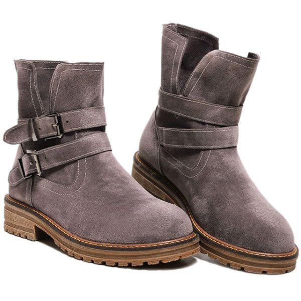 $28.87 Flat Heel Double Buckle Dark Colour Short Boots