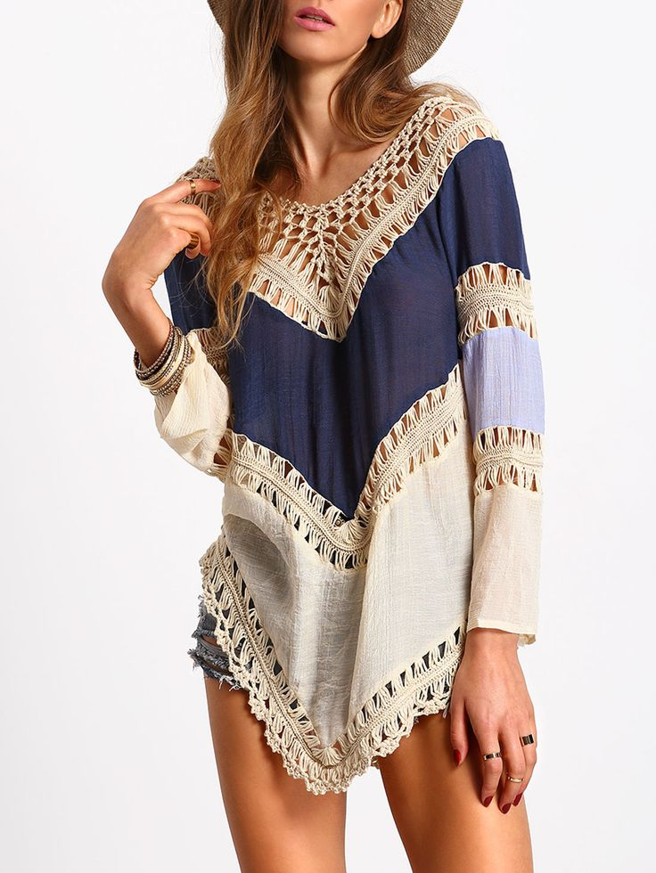 Shop Colour-block Hollow Crochet Loose Top online. SheIn offers Colour-block Hollow Crochet Loose Top & more to fit your fashionable needs.
