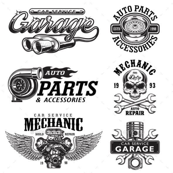 Set Of Vintage Monochrome Car Repair Emblems Garage Logo Car Logos Car Repair Service