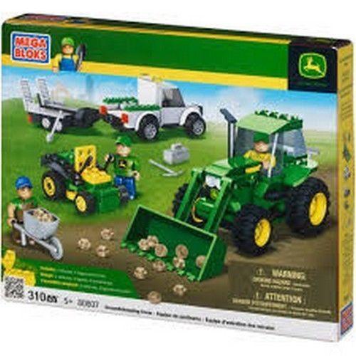 Mega Bloks John Deere Groundskeeping Crew 80807 Tractor Mower Pickup Minifigs #MegaBloks
