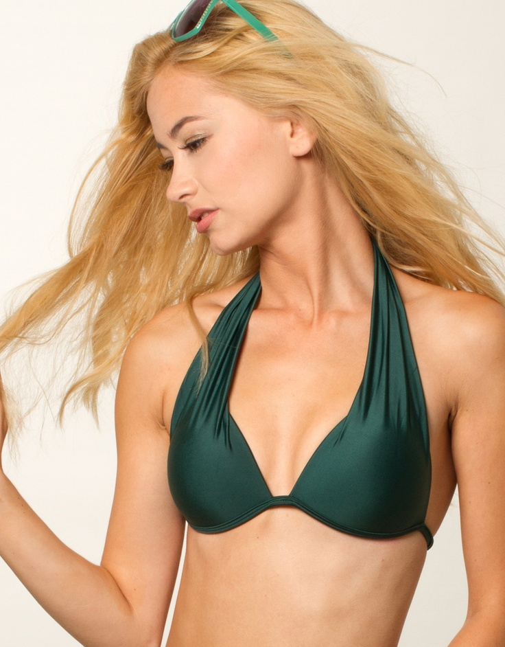 "Love this bikini top - the shape & color (""Petrol"" push-up halter top by Karioka)"