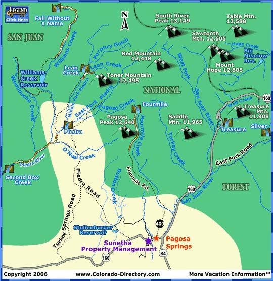 Pagosa Springs Hiking Trails Map | Colorado Vacation Directory
