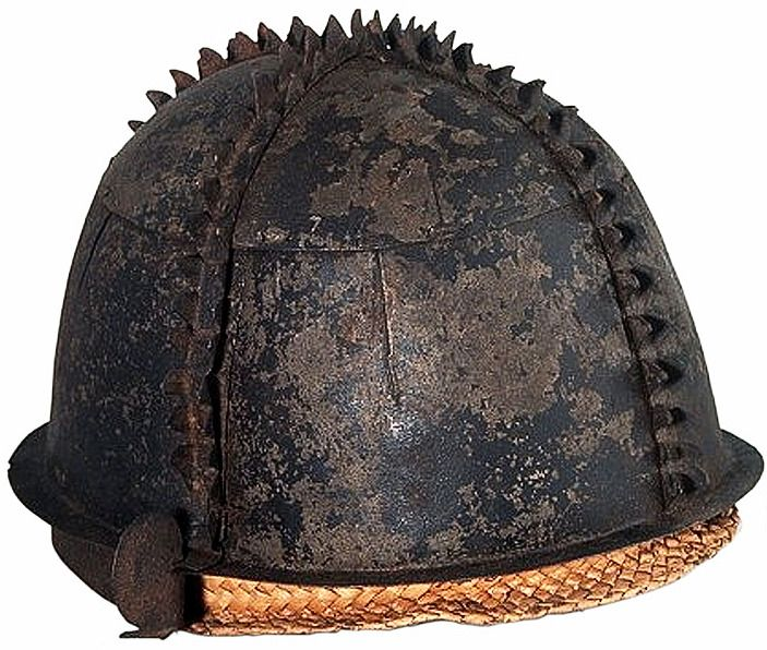 Nias (Indonesia) battle helmet (takula tofao), iron,  H 13.5 cm, Dm 16 to 20.5 cm, National Museum of Ethnology, The Netherlands.
