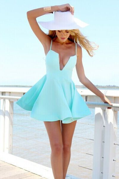 Cheap Sexy V Neck Spaghetti Strap Sleeveless Blue A Line Mini Dress on Luulla