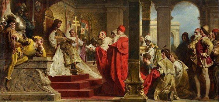 Hunyadi Mátyás fogadja a pápa követeit.