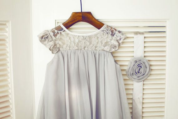 On Sale Gray Chiffon Lace Flower Girl Dress Kids by knothouses