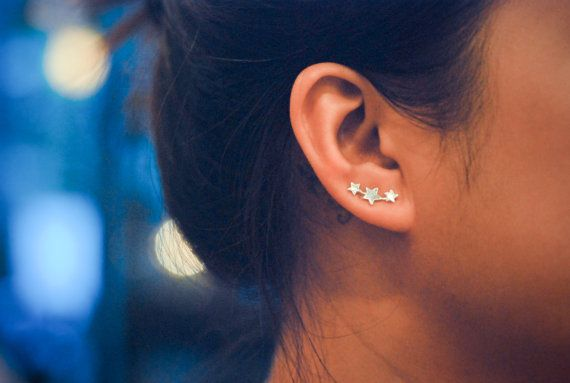 Hey, I found this really awesome Etsy listing at https://www.etsy.com/listing/181160098/mini-three-stars-sterling-silver-ear