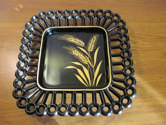 The Westmoreland black 8 square plate with it golden sheaf of wheat is truly unique and beautiful! There is no chips, no nicks, and no cracks. Reduced from $15.00  PAYMENTS  Paypal only. Order is shipped once payment has been received.  PROCESSING  Processing time is 1-2 days.  Every item is wrapped with great care with multiple layers of bubble wrap and peanuts.  All items are shipped from a non-pet, smoking free home. We purchased the items through estate and auction sales. SHIPPING…