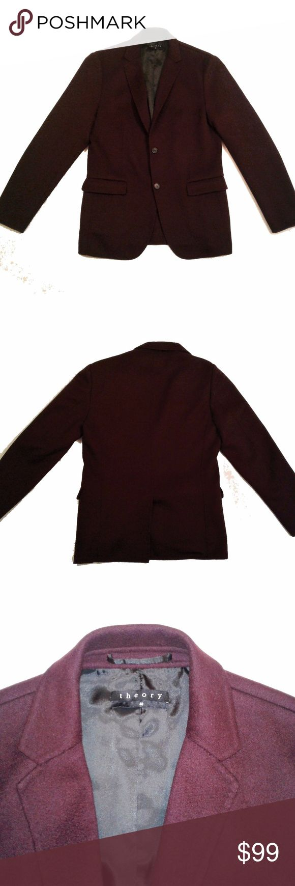 """Theory Burgundy """"Tobius F DW"""" jacket 100% cashmere Description: Theory """"Tobius F DW"""" jacket/sport coat blazer in Reish cashmere Deconstructed silhouette Notch lapel; two-button front Long sleeves Half-lined interior Made of imported Italian material: 100% cashmere (super soft!) Deep wine or burgundy color Excellent used condition Stock photos used to show fit  Approx Measurements: Armpit-to-armpit: 21"""" Length of body from back collar to hem: 29"""" Length of sleeve from shoulder seam to cuff…"""