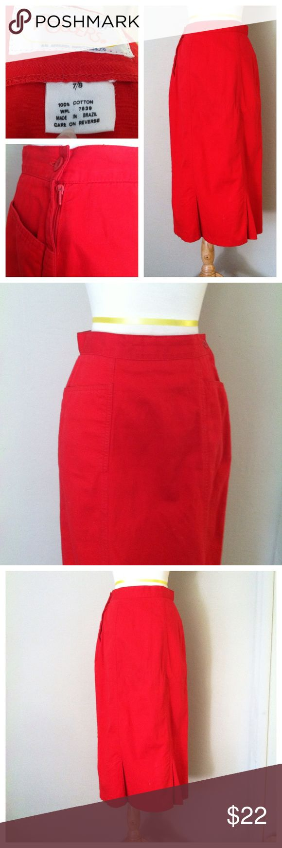 Hot for Teacher Red Pencil Skirt Made by Trousers Up Vintage pencil skirt. Made in Brazil all cotton Vintage Skirts