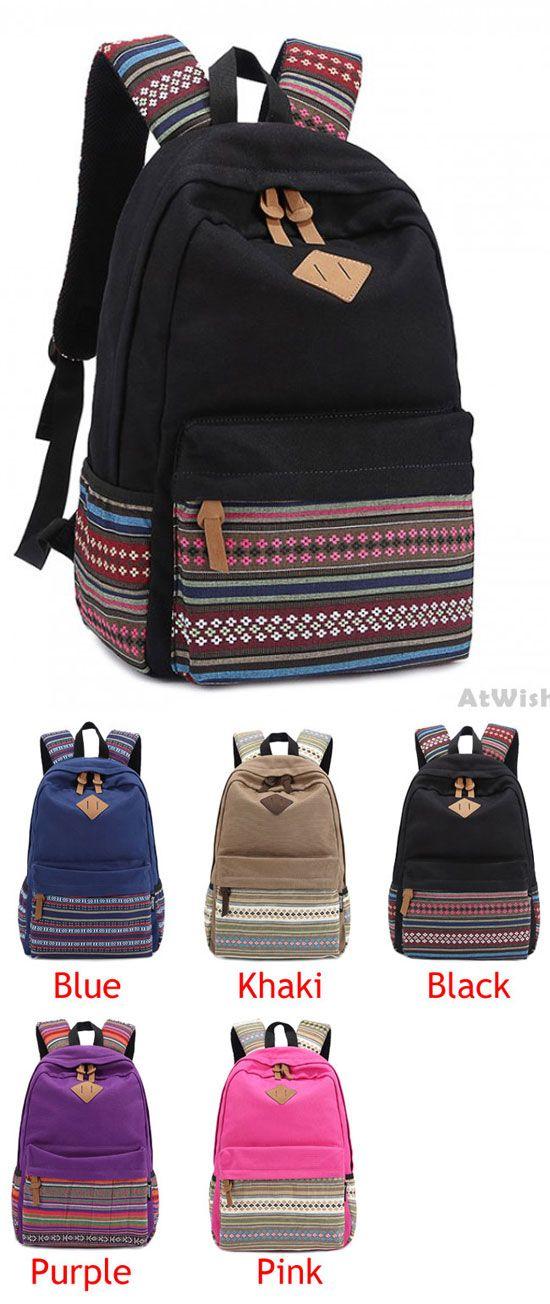 New Folk Striped College Canvas Backpack for big sale! #backpack #Bag #school #college #canvas #striped #folk