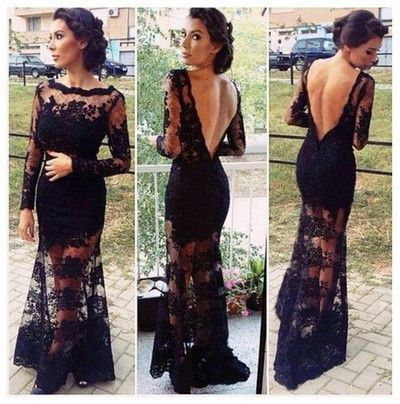 Black prom Dress,Lace Prom Dresses,2017 prom Dress,Long sleeves Backless prom dress,Evening dress,BD044