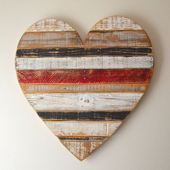 Rustic vintage reclaimed wood heart-    hand painted wall decor