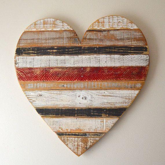 Geregenereerde pallet houten hart, schuur stijl, boerderij stijl, voorzien…