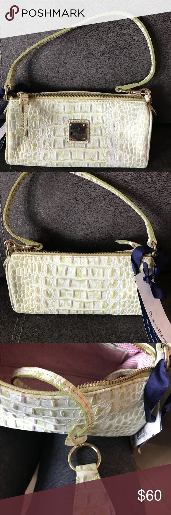 New Dooney & Bourke  Barrell bag purse handbag New with tags, the mini barrel bag, lavender and green flecked ostrich embossed leather, can be converted to a large Wristlet also, comes with a bonus keychain Dooney & Bourke Bags Mini Bags