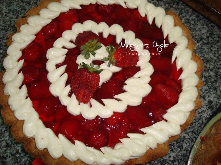 tarta de frutillas y crema