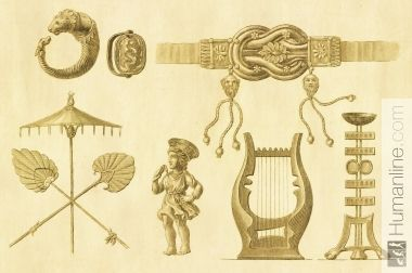 Instrumentos musicales de la antigua Grecia. | Antique Historic Illustrations