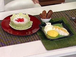 Arroz glutinoso con mango y rubíes en leche de coco en elgourmet