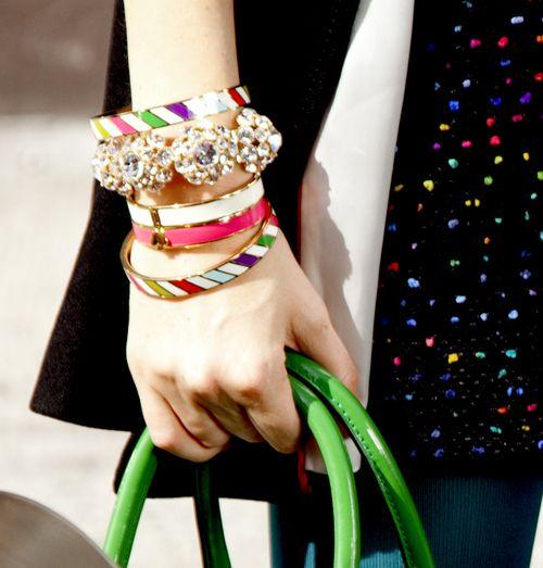 : Arm Candy, Bright Color, Spade Bangles, Stacking Bracelets, Color Bangles, Shorts Wedding Dresses, Bangles Bracelets, Accessories, Kate Spade