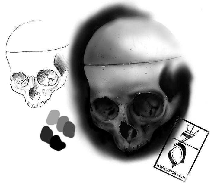 Martin Tattooer Zincik - Czech Tattoo Artist, Digital art painting  illustration Skull, Tetování Brno / Praha