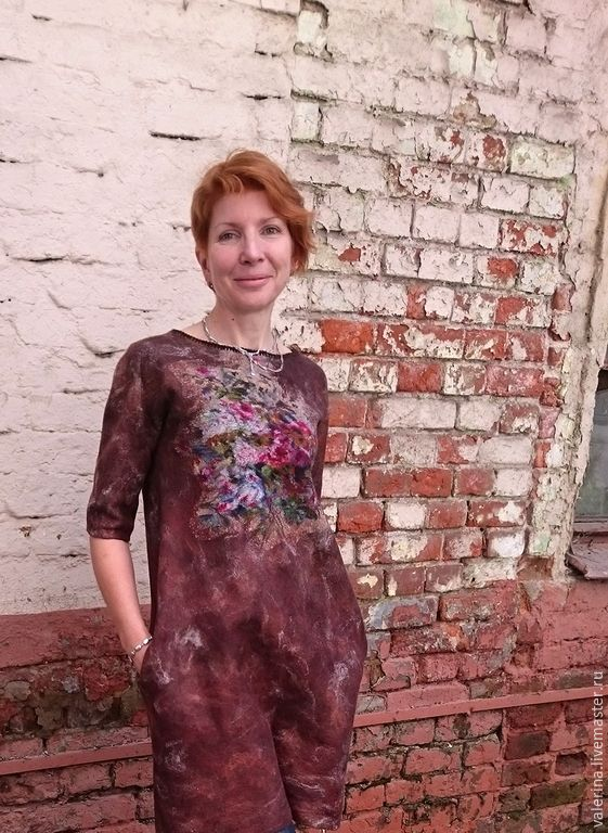 """Купить Платье валяное """"КЕКС С ВИШЕНКОЙ"""" - коричневый, абстрактный, валяное платье, яркое платье"""
