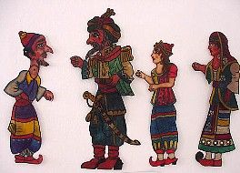 Supporting characters of the Karagiozi puppet theatre by Haridimos.