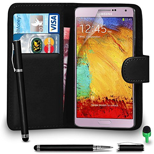 From 2.95 Samsung Galaxy Note 3 Fits Case Premium Leather Black Wallet Flip Case Cover Pouch With 2 In 1 Ball Pen Touch Stylus Green Cap Screen Protector & Polishing Cloth