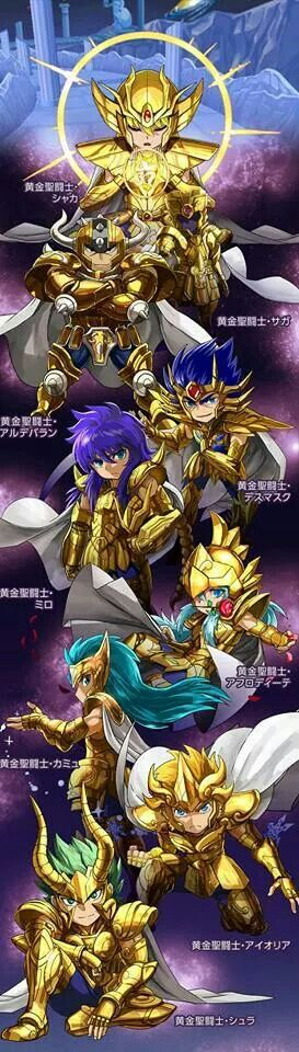 Saint seiya - Knights of the Zodiac - Gold Saints chibi. OMG so cute ;A;