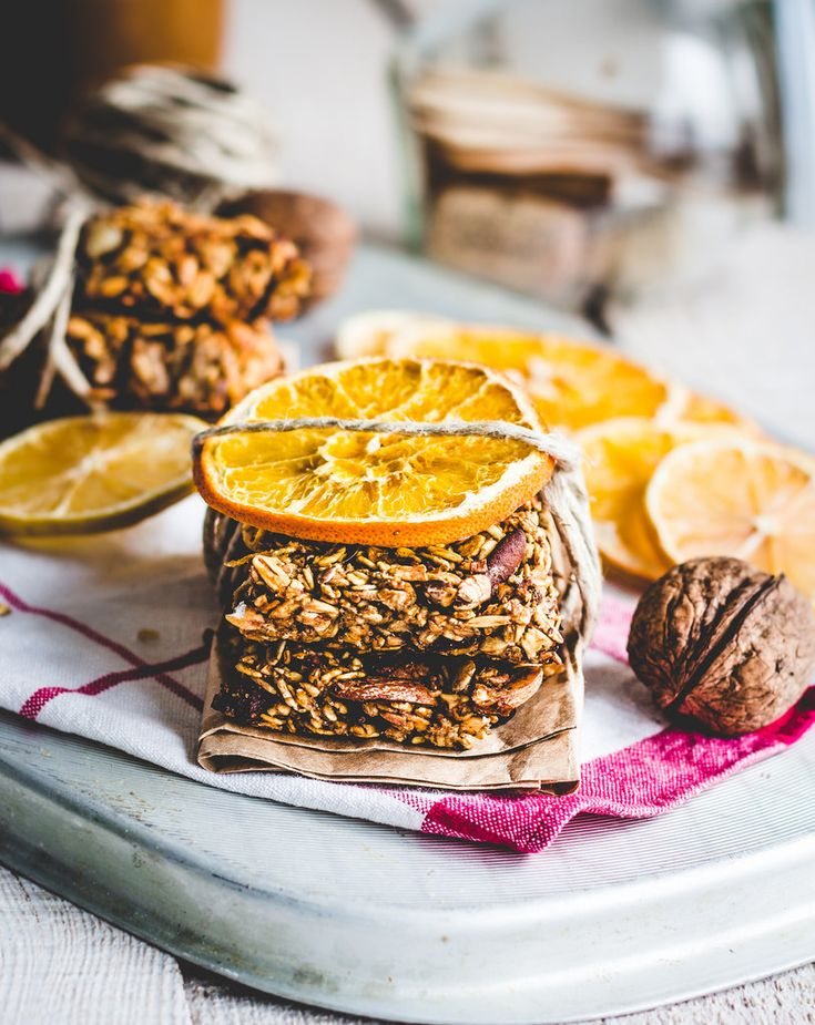 granola bars citrus, seeds, peanut butter and dried fruit