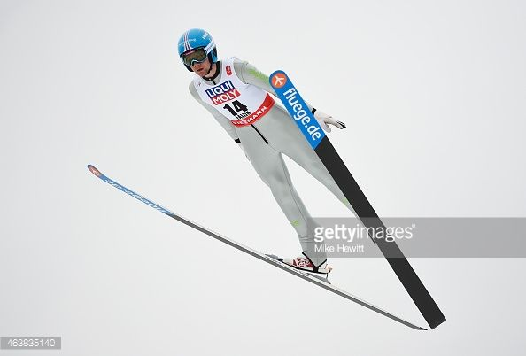 Nico Polychronidis of Greece practices during the Men's Normal Hill Ski Jumping training during the FIS Nordic World Ski Championships at the Lugnet...