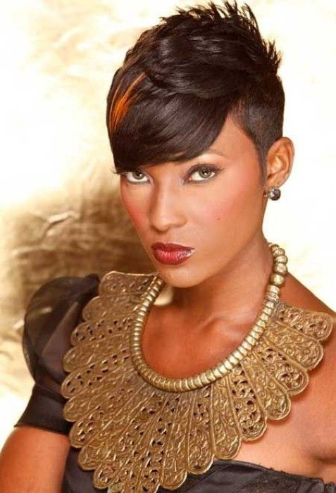 angled bob short hairstyles for black women with round