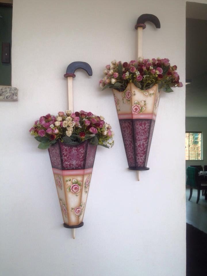 guarda chuvas de mdf com flores